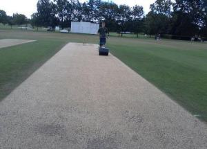 The wicket at Merchant Taylor's on the third morning of play - awesome