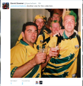 Just a few quiet Aussies abroad celebrating the World Cup victory in 1999.